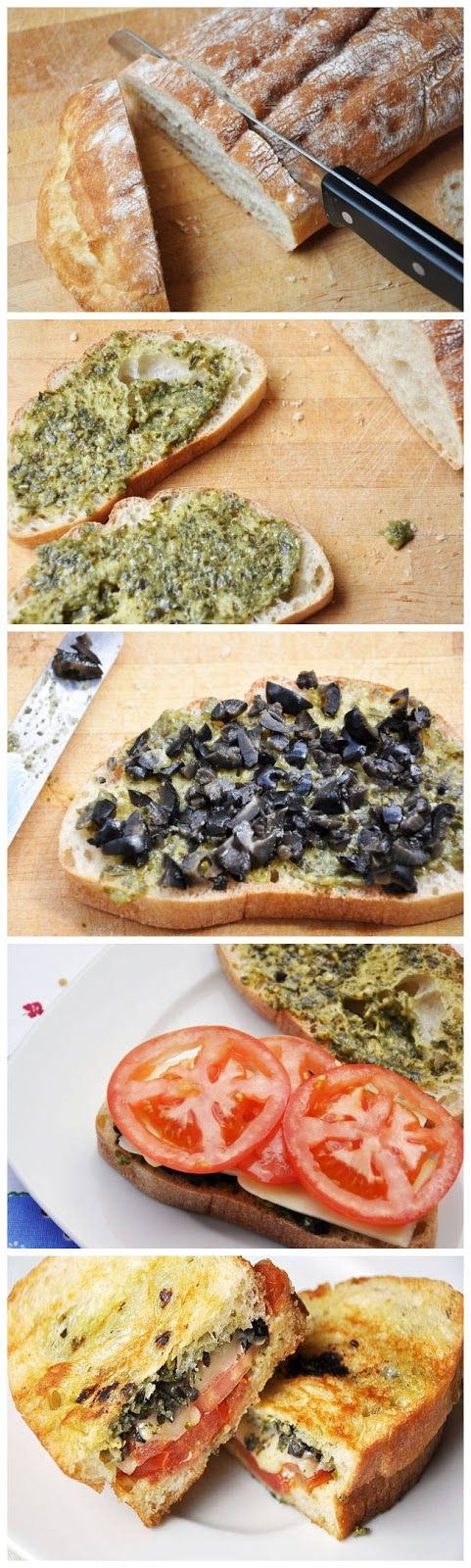 Pesto, Olives Tomato Grilled Cheese
