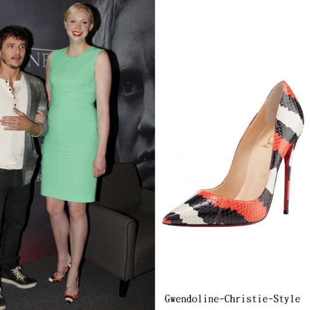"Event | 8 April 2014 | Rio De Janeiro (Brazil) | ""Game of Thrones"" Season 4 Promotion Shoes: Christian Louboutin 'Decollette' Striped Snakeskin Pumps"