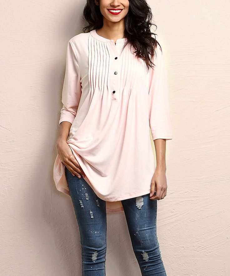 Love this Light Pink Notch Neck Pin Tuck Tunic by Reborn Collection on #zulily! #zulilyfinds