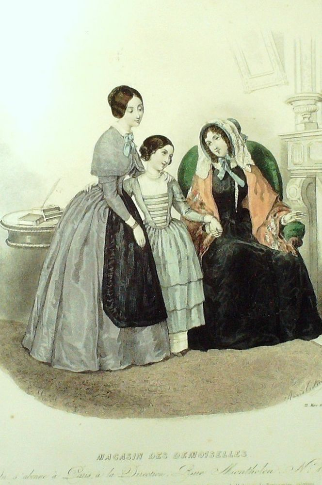 GRAVURE de MODE AUTHENTIQUE-M173-MAGASIN DEMOISELLES-ROBE DE VILLE-1845
