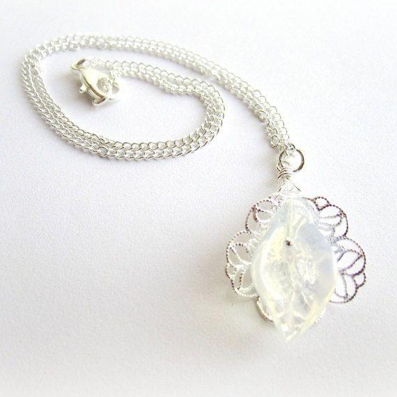 Opalite moonstone pendant necklace calla by MalinaCapricciosa