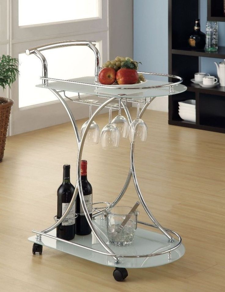 white glass chrome modern bar cart with glass tempered glass shelves cart