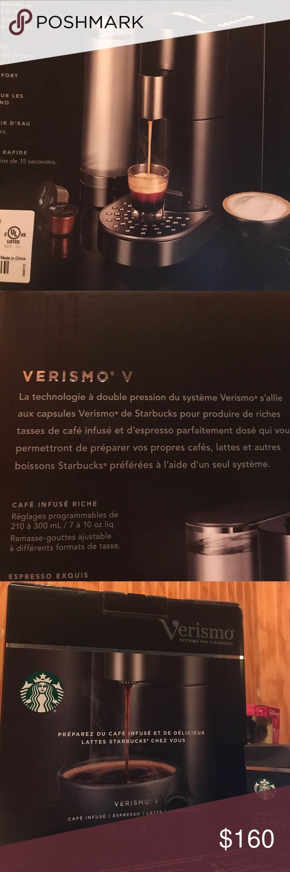 """Newest Starbucks Verismo V coffee machine system I got 2 (one for Christmas and one for birthday ) so I'm selling my extra. This is a new in the box current most updated version of the Starbucks Verismo coffee pod system """" Verismo V"""". """"""""The Verismo System's unique Dual-pressure technology works with Verismo pods to brew rich Starbucks coffee and pull the perfect shot of espresso --so you can make your favorite Starbucks coffee, lattes and more, with one machine. """""""". New never opened for the…"""