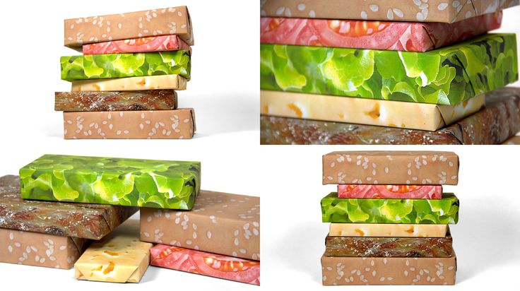 Meat Gift Wrap. Cheeseburger Set