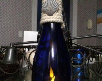Winter Wonderland botella de vino huracán vela por MagicOwlDesigns