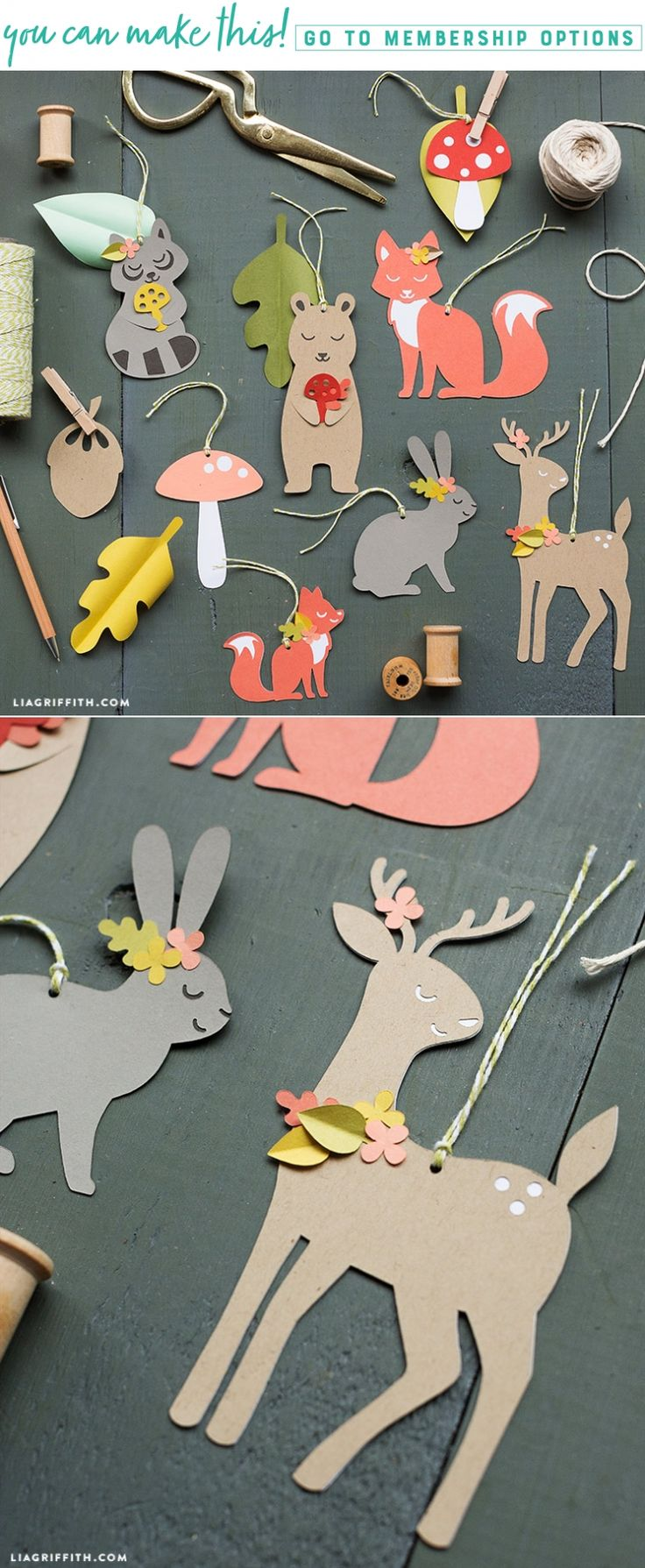 Create a set of easy papercut woodland gift tags with Lia Griffith! #partyplanning #paperparty #woodlandparty #gifttags