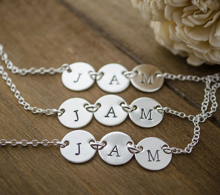 Set of 3, Triple Tag Initial Necklaces in Sterling Silver, perfect for best friends or sisters: http://www.glasspoppies.com/listing/272929560/3-best-friends-necklaces-set-of-3-three