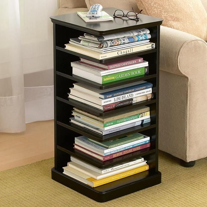 Book shelf table. Great way to utilize space under a table, and a convenient way to keep often used books and magazines handy -do this for school books