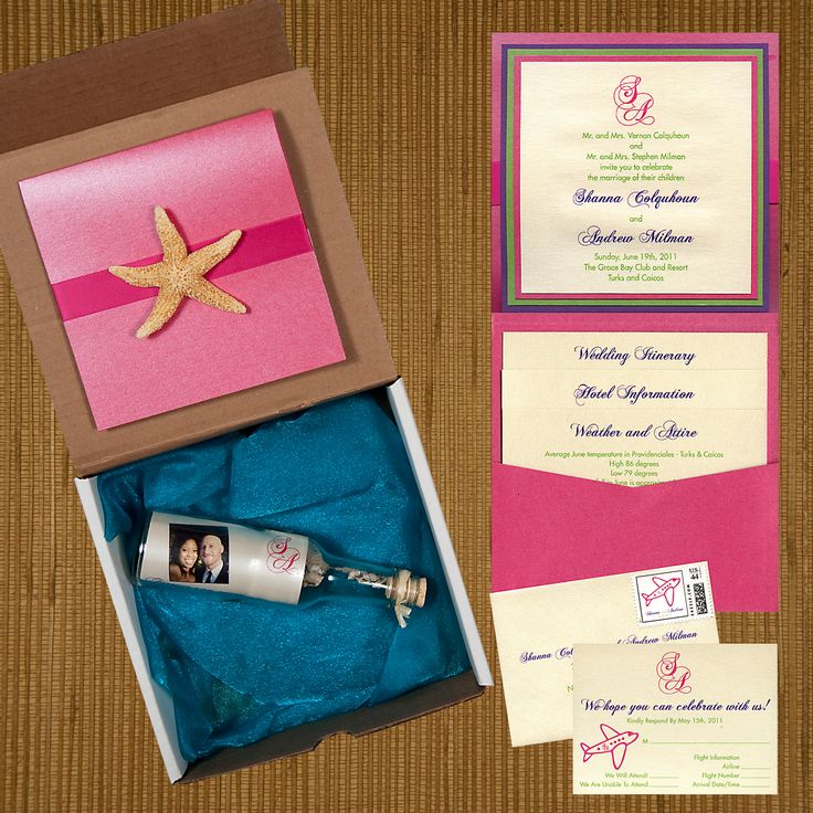box wedding invitations online%0A box destination wedding invitation  pink metallic pocket invite mounted   pink ribbon with real starfish