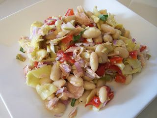 theworldaccordingtoeggface: A day in my pouch. Italian Tuna Salad1 (15 oz.) can Cannelini Beans, rinsed and drained 1 (14 oz.) can Artichoke Hearts, chopped (water packed) 1 can Tuna Fillets, packed in Olive Oil, drained (I use Roland Ventresca Tuna Fillets) 1/2 cup Roasted Red Pepper, chopped 1/4 of a Red Onion, diced 4-5 Olives, chopped (I used Garlic-stuffed Sicilian) zest of 1/2 a Lemon juice of 1/2 a Lemon 1 Tablespoon Fresh Basil, chopped 1/2 teaspoon Kosher Salt a few twists of Black