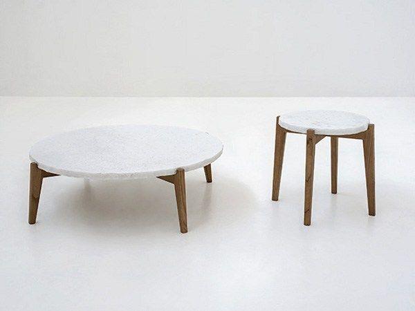 MONZINO Round marble coffee table, design by Franco Albini (2013)