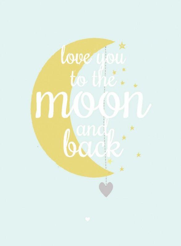 Poster maan mint groen A3. Mooie poster met een lieve tekst om elke dag tegen je kindje te zeggen. A3 formaat, 29,7 x 42 cm, geprint op 300g off set papier, FSC. Mintgroen geel sterren kinderkamer babykamer decoratie