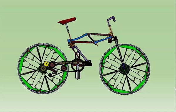 """Foldable bike concept he trabajado y desarrollado un concepto """"Original"""" de bicicleta plegable, con los siguientes criterios: - Ratio máximo de """"Plegabilidad"""" -mecanismo automatizado al máximo permitiendo plegar el modelo con el mínimo de manipulaciones por parte del sutilizador - ruedas tamaño normal, y plegables. El video completo es mas explicativo pero aun asi, aqui con el gif, se puede tener una buena idea. Enjoy!"""