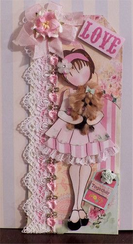 Elite4U Prima Doll Tag Shabby Chic with Yorkie PP for pages or albums CTD