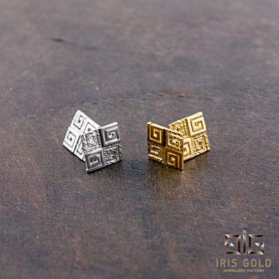 Earrings gold plated greek key
