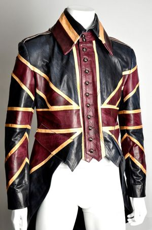 Union Jacket    By Rob Beschizza at 8:00 am Friday, Mar 9    London's Impero Leather offers this fantastic tailed leather jacket, a steampunk answer to the postapocalyptic duster that the late Alexander McQueen designed for David Bowie in the 1990s.: Diamond Jubilee, Unionjack, Jack O'Connell, Jackets, Steampunk, Union Jack
