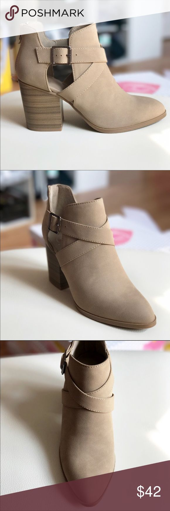 """📍LAST PAIR 📍Taupe Buckle Bootie These gorgeous booties are a MUST HAVE for Fall. Get them now!!!! 3"""" tall and fits true to size. Zipper heel and adjustable buckle to make tighter to looser. Sizes 6.5 last pair. Comes with shoe box.  📍ALL IMAGES ARE COPYRIGHTED TO VALMARIE BOUTIQUE LLC AND WILL NOT BE ALLOWED TO USE WITHOUT PRIOR PERMISSION.📍fits true to size. ValMarie Shoes Ankle Boots & Booties"""