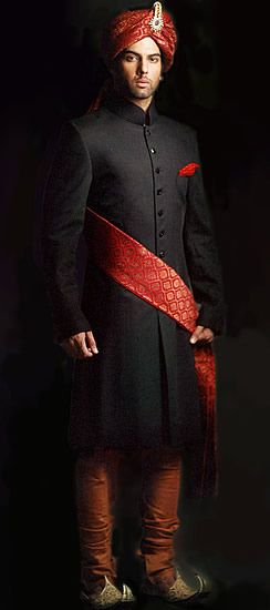 Black and Red Sherwani For Grooms