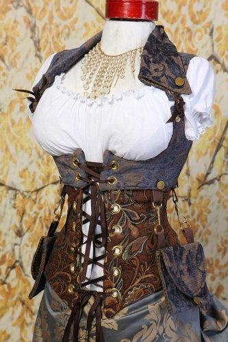 CLASSIC PATTERN-Waist 23 to 25 Brown and Blue Paisley Wench Corset