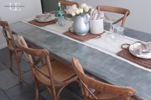 dining room makeover with zinc DIY table