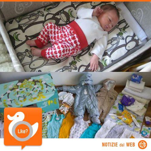 BAMBINI... IN SCATOLA!  In Finlandia dal 1930 le neo mamme ricevono a casa, via posta, una scatolone abbastanza grande da fungere da culla per i primi mesi di vita del bimbo. Al suo interno, oltre a materassino, cuscini e lenzuola, si trovano anche vestiti, pannolini e prodotti utili  http://shots.it/news_item.php?news_id=64&id=11&lang=it