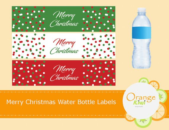 Merry Christmas Water Bottle Labels Waterproof by OrangeKiwiDesign