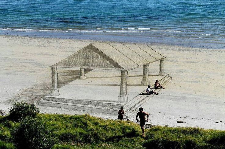 3-D Art in the sand New Zealand Artist Jamie Harkins and his friends Lucia Lupf, David Rendu and Contanza Nightingale made these stunning optical illusions and 3-D images on the beaches of Mount Maunganui.