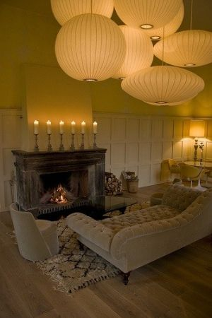 soft globe lights, shabby distressed fireplace, neutrals, wood by StarMeKitten
