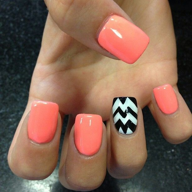 Peach / coral nails with black and white chevron accent nail - 14 Best Nails Images On Pinterest Overlays, Gel Nails And Gel