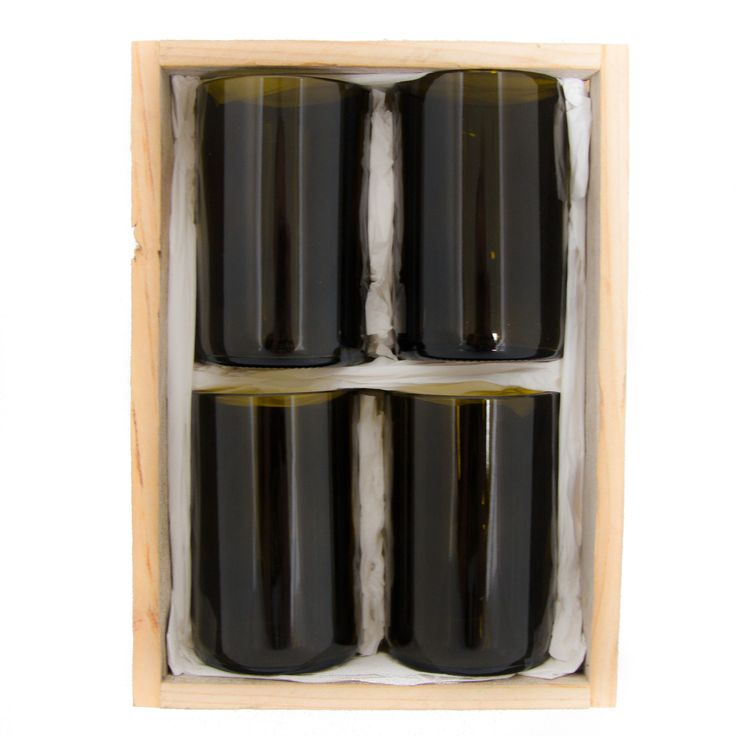 Gift Pack - 4x Olive Green Tumblers. These beautiful Olive Green tumblers are made from repurposed Reisling wine bottles. This gift pack is presented in a handmade wooden box created from recycled fence palings. Available to buy now at www.TwiceDrunk.com.