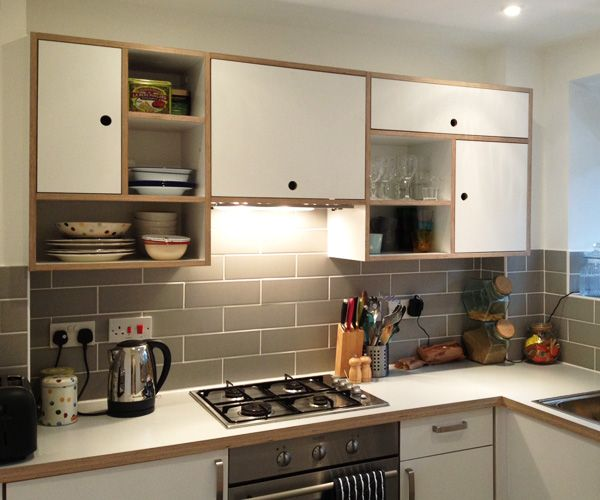 Bespoke birch ply and Formica Kitchen with finger hole handles