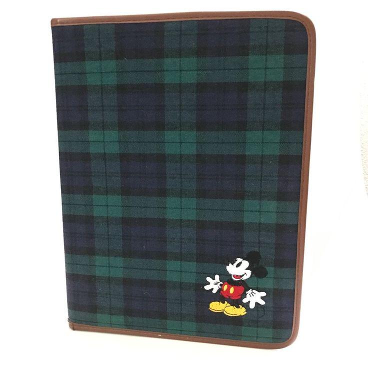 Disney Store Tartan Plaid Embroidered Mickey Mouse Notepad Portfolio  #Disney