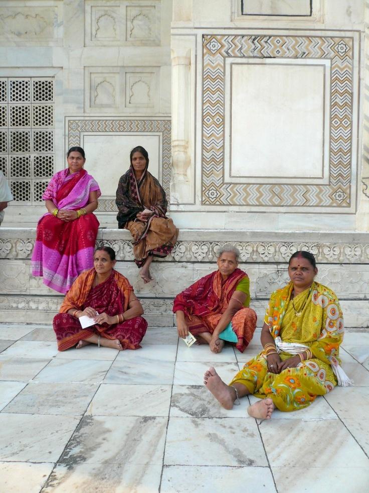 Women in saris at the Taj Mahal, Agra