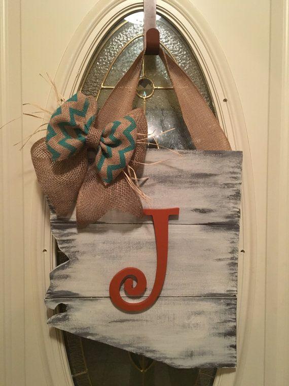 Arizona/État/en détresse/monogramme/porte Decor mariage cadeau/rustique/dortoir Decor/Plaque/porte cintre en bois signe/initiale/cadeau