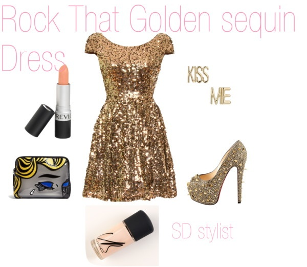 """""""Golden Sequins"""" by sdglitter on Polyvore"""