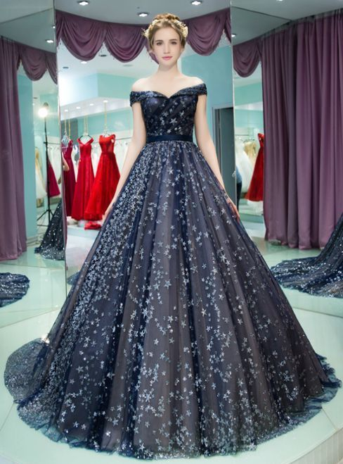 3162dac619c Navy Blue Ball Gown Off The Shoulder Tulle Sequins Quinceanera Dresses by  PrettyLady