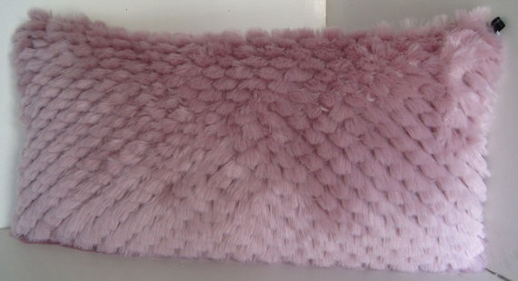 Feathered Pink Faux Fur Decorative Pillow by WilhelminaJacobsLA, $49.99