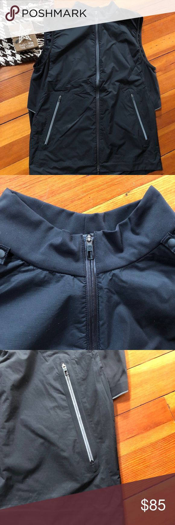 Lululemon Vest Lululemon men's black vest size large. In excellent condition. Two zippered pockets in front. Lightweight material great for working out in or causal attire. lululemon athletica Jackets & Coats Vests