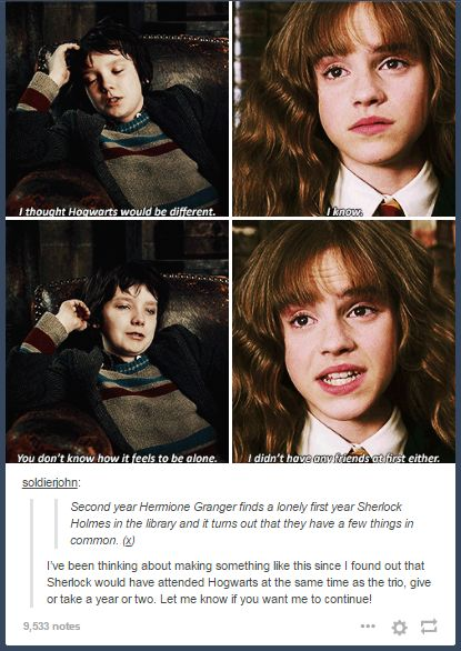 I like imagining (tho the dates are off) that SH and JW went in the marauders era and then hamish went with Hermione and harry