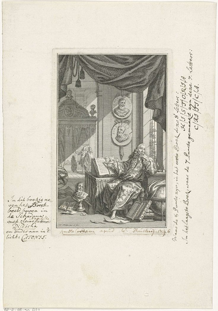 Simon Fokke | Geleerde in studeervertrek, Simon Fokke, 1759 | Een geleerde zit achter een bureau in een studeervertrek en wijst op een opengeslagen boek. Boven zijn bureau hangen twee medaillons met de beeltenissen van filosofen uit de Oudheid. Op de grond rond zijn bureau liggen papieren en boeken en staan een portetbuste en een wereldbol.