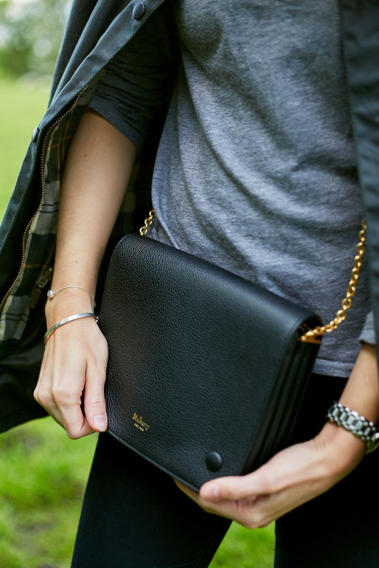 Mulberry Large black Clifton Bag. Features three spaces, like the Celine Trio bag