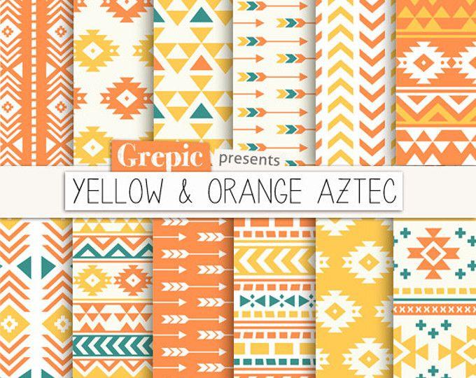 """Azteca digital papel: patrones aztecas """"Amarillo & naranja Azteca"""" orígenes tribales, verano, geométricas, nativos, triángulos, flechas, digital"""