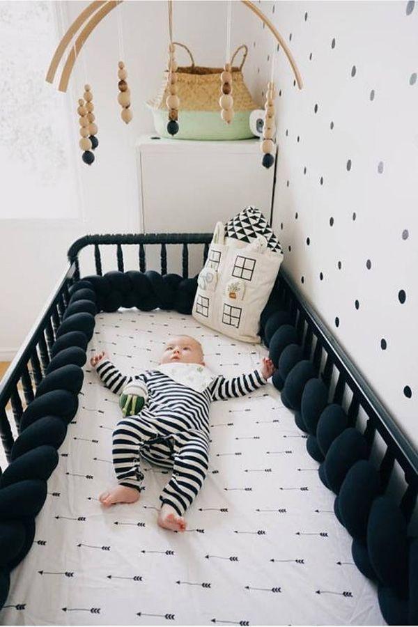 Braided Crib Bumper Black Nursery Decor Knot Pillow Knot Cushion Decorative Pillow Bolster Crib Bedding Crib Shee Crib Bumper Crib Bedding Baby Sheets