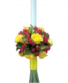 Aranjamente nunta si botez Lumanari de nunta trandafiri galbeni