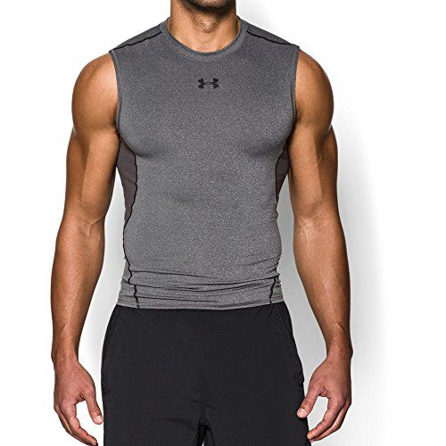 Under Armour Men's HeatGear Armour Sleeveless Compression Shirt Carbon Heather/Black XX-Large