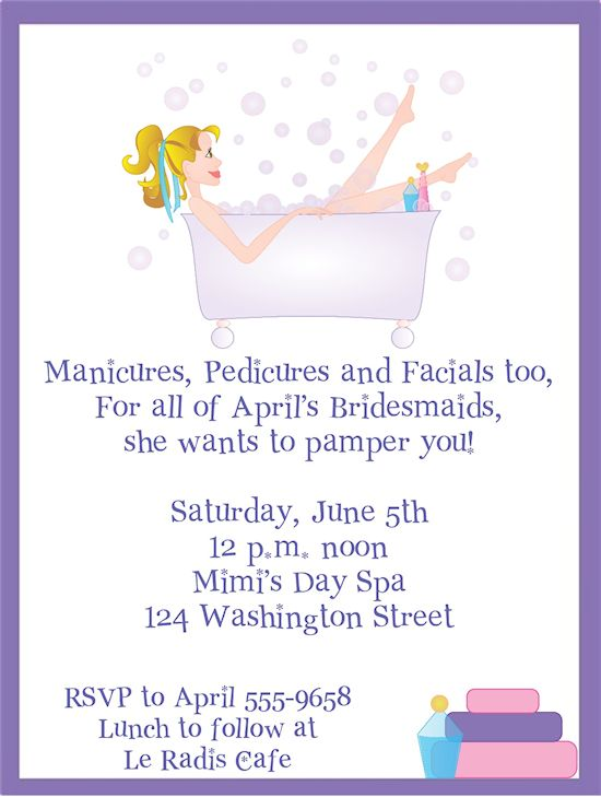 Pampered Girl, Spa Bridal Shower Invitations