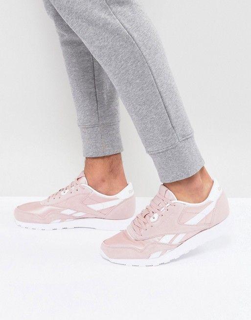 Reebok CL Nylon Premium Suede Sneakers In Pink