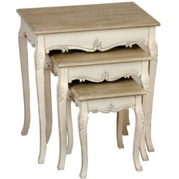 SHABBY CHIC FRENCH STYLE COUNTRY NEST OF 3 TABLES FOR LAMPS, TELEPHONES, ORNAMENTS & PLANTS ** FULL RANGE OF MATCHING FURNITURE IS AVAILABLE...