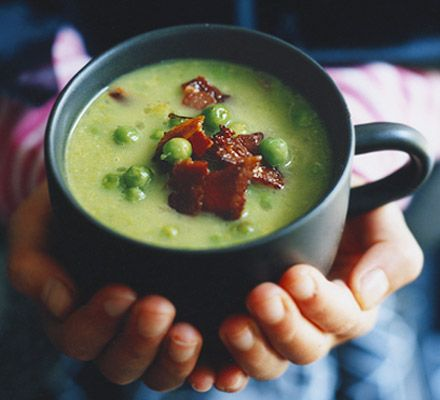 Witches' brew (Pea & bacon chowder). We love this soup all through the year, but it really comes into its own at Halloween - for obvious reasons!