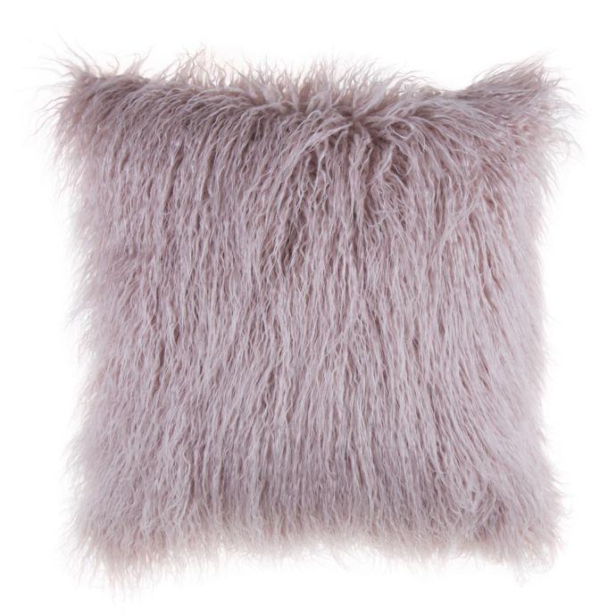 Mongolian Faux Fur Square Throw Pillow   Bed Bath & Beyond   Throw